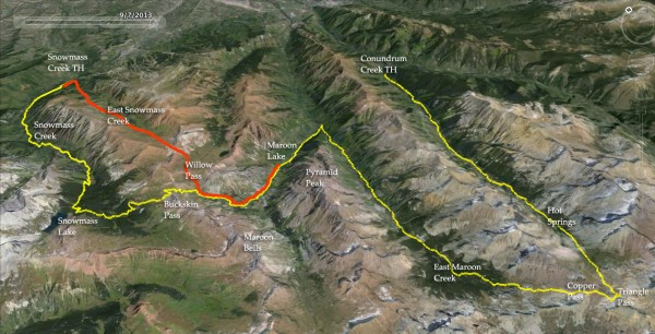 Snowmass Creek to Conundrum Creek map