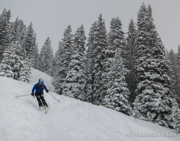 On the ski from Burnt Mountain to Buttermilk. The snow had let up for the moment.