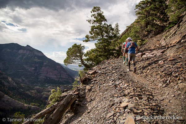 Heading up the switchback of Bear Creek with Christy. (Tanner Johnson photo)