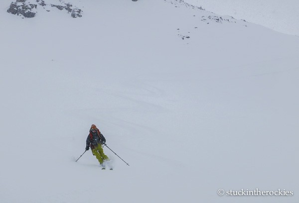 skiing from mace saddle to tagert hut
